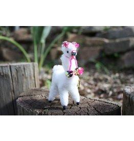 Alpaca Keychain Figurine with Pink Trim
