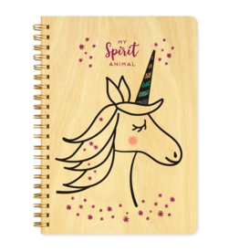 Unicorn Spirit Animal Wood Journal