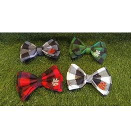 Gray Buffalo Plaid Flannel Bow Tie - Medium