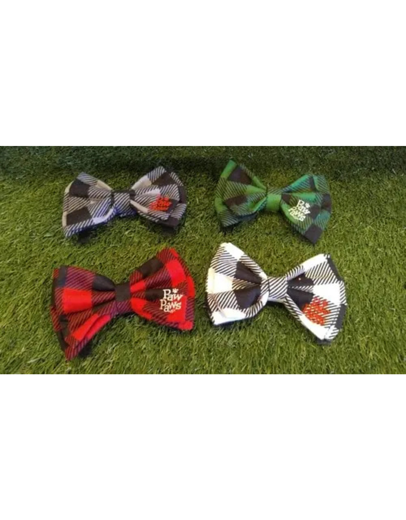 Gray Buffalo Plaid Flannel Bow Tie - Large