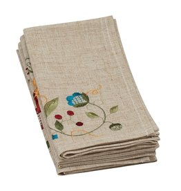 Flower Embroidered Napkin - Set of 4