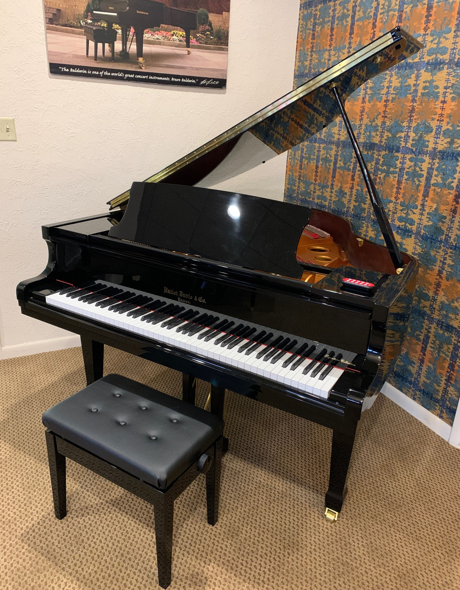 Hallet Davis & Co. Hallet Davis and Co GD148 4'10 Grand Piano w/ QRS PNOMation Player (Ebony Polish)
