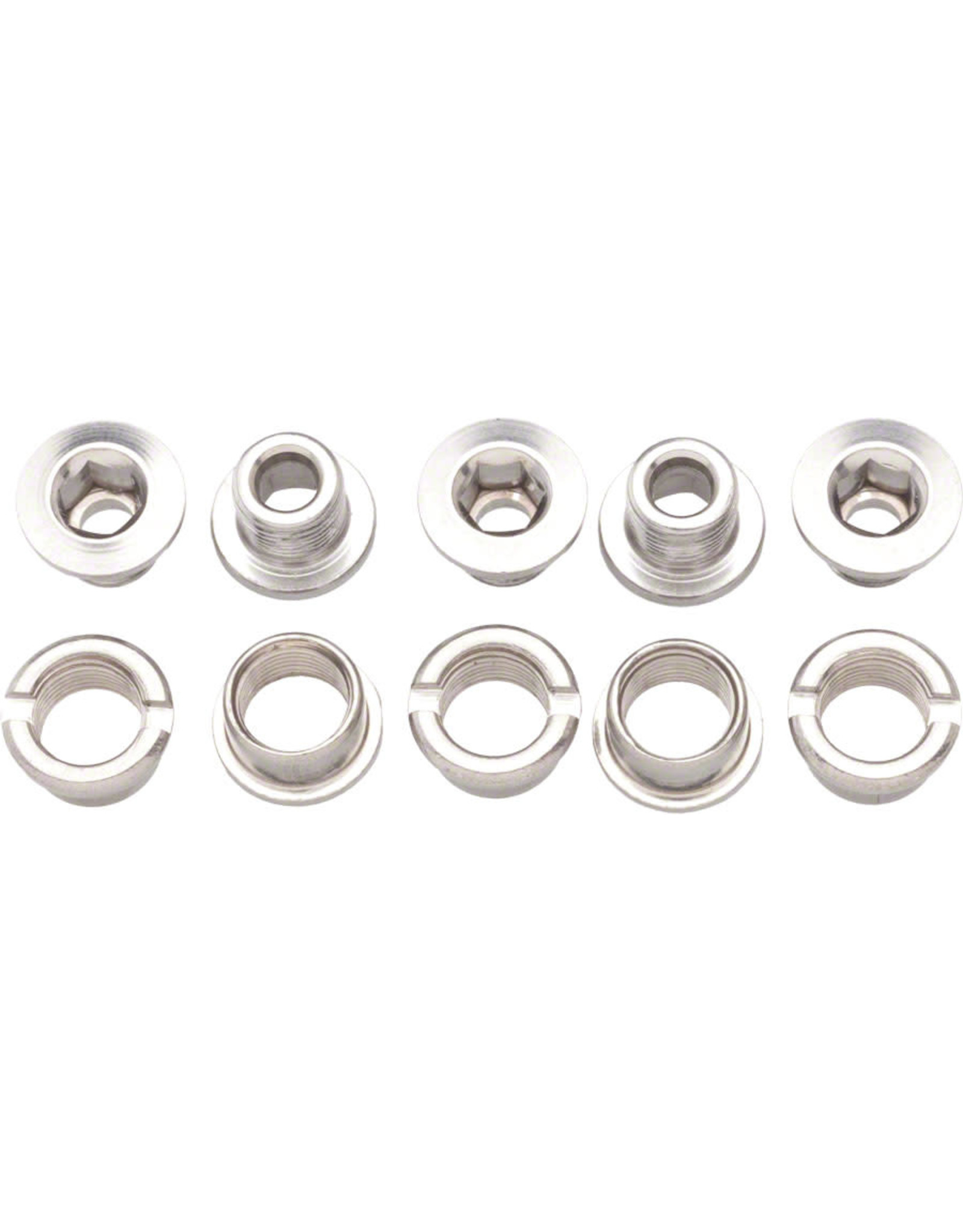 Problem Solvers Problem Solvers Double Chainring Bolt/Nut Set Alloy Silver Set of 5