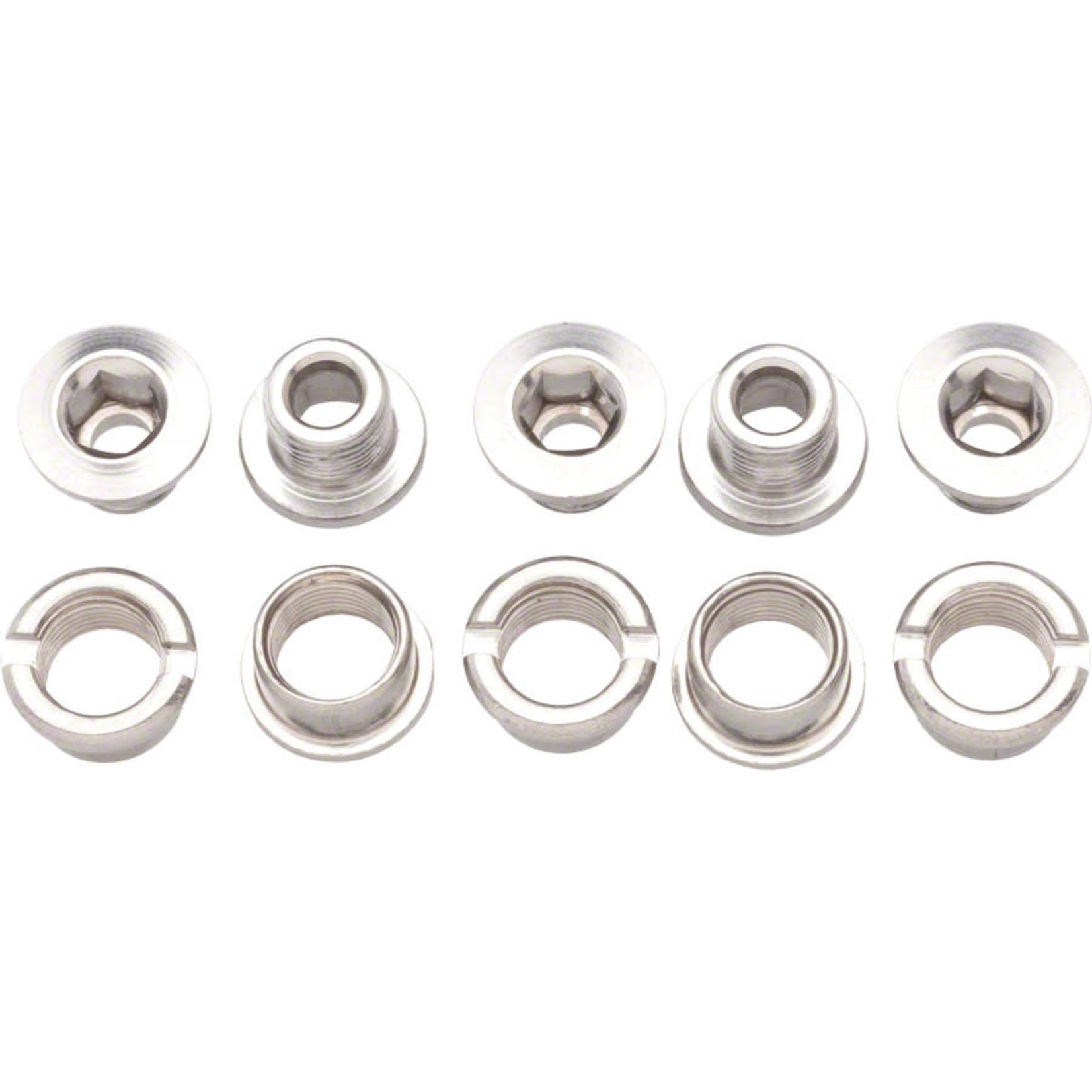 Problem Solvers Problem Solvers Double Chainring Bolt/Nut Set Alloy Silver Set of 5