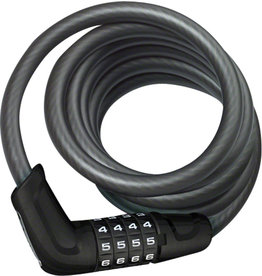 ABUS Abus Tresor 6512 Combination Coiled Cable Lock: 180cm x 12mm With Mount, Black