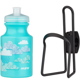 MSW MSW Kids Water Bottle and Cage Kit - Clouds w/ Black Cage