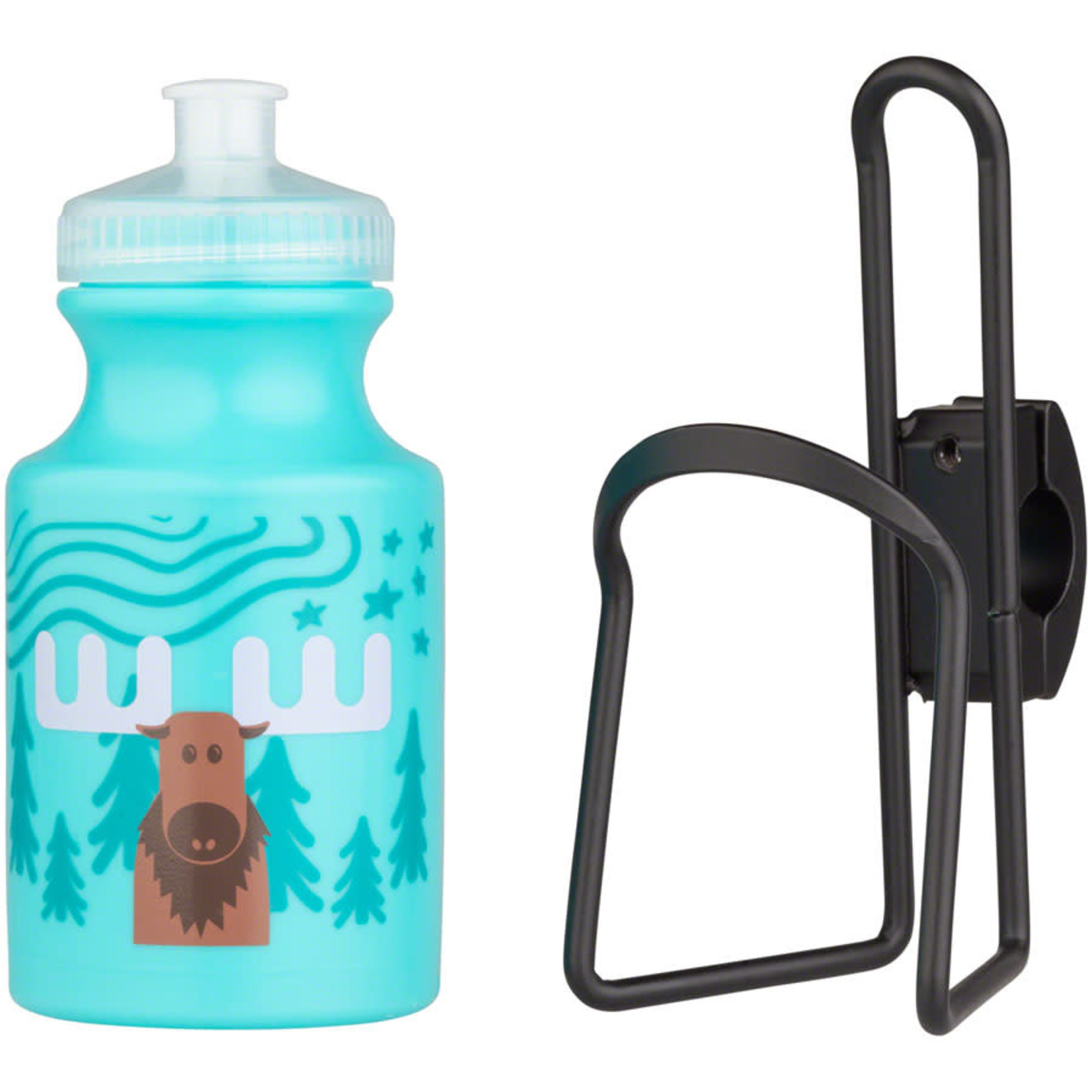 MSW MSW Kids Water Bottle and Cage Kit - Moose w/ Black Cage