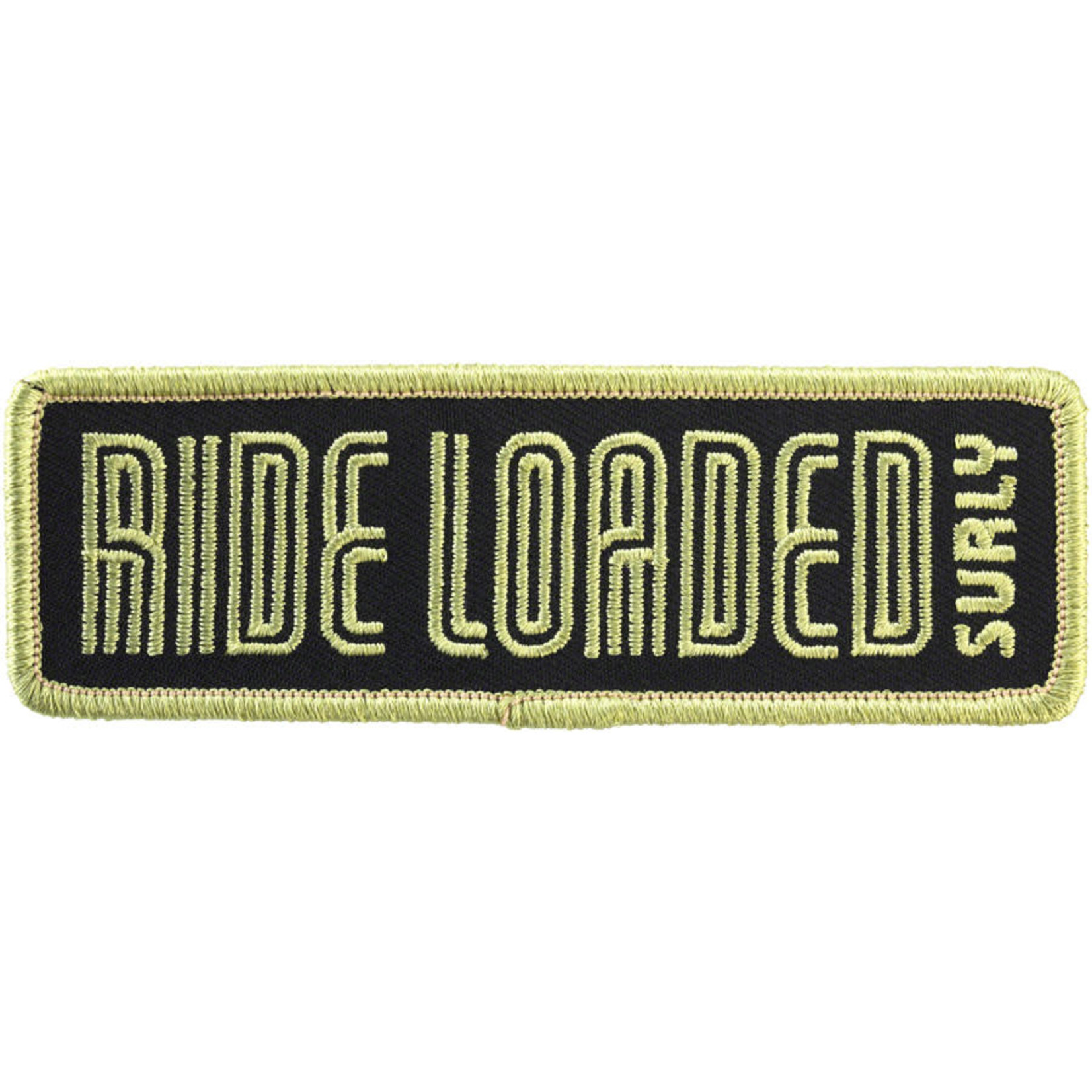 """Surly Surly Ride Loaded Patch: 4.25""""x1.38"""" Light Army Green/Black"""