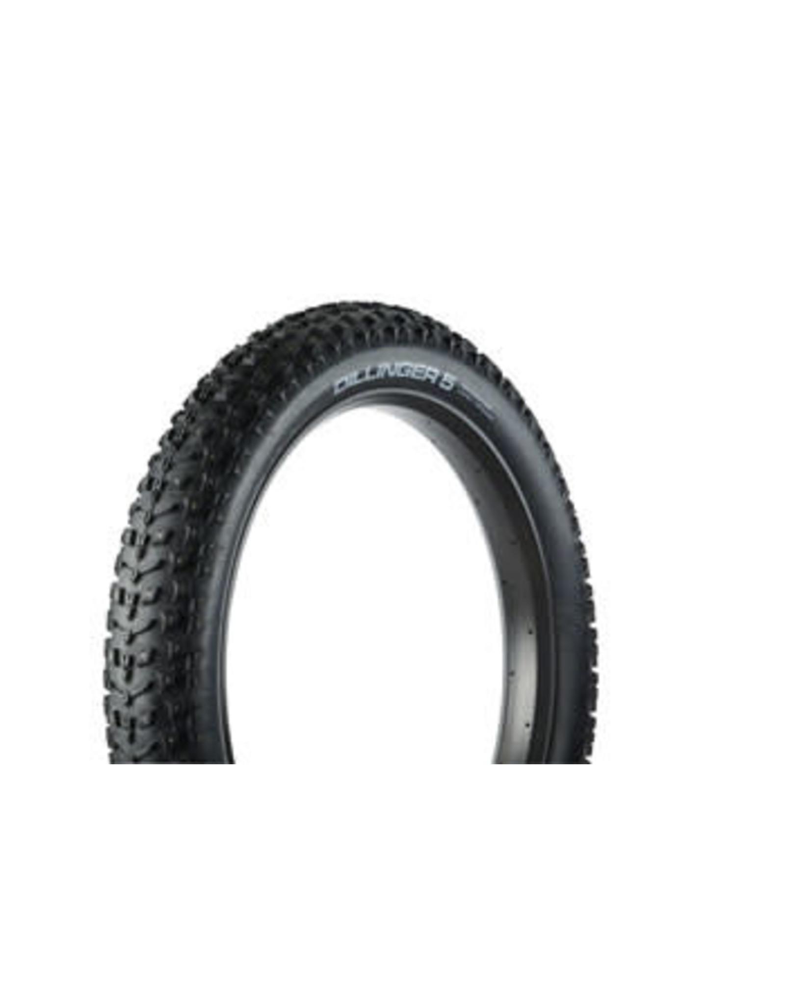 "45NRTH 45NRTH Dillinger 5 Studded Fat Bike Tire: 26 x 4.6"", 258 Steel Carbide Studs, Tubeless Ready Folding, 60tpi, Black"