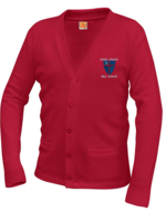 CCDS Red V-neck cardigan sweater with pockets
