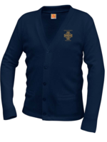 TUS CCPS Navy V-neck cardigan sweater with pockets