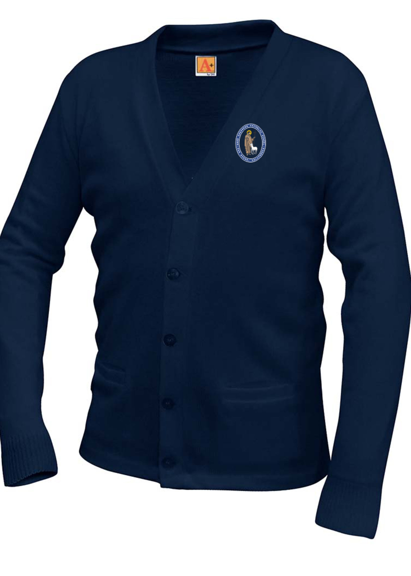 TUS GSCS Navy V-neck cardigan sweater with pockets