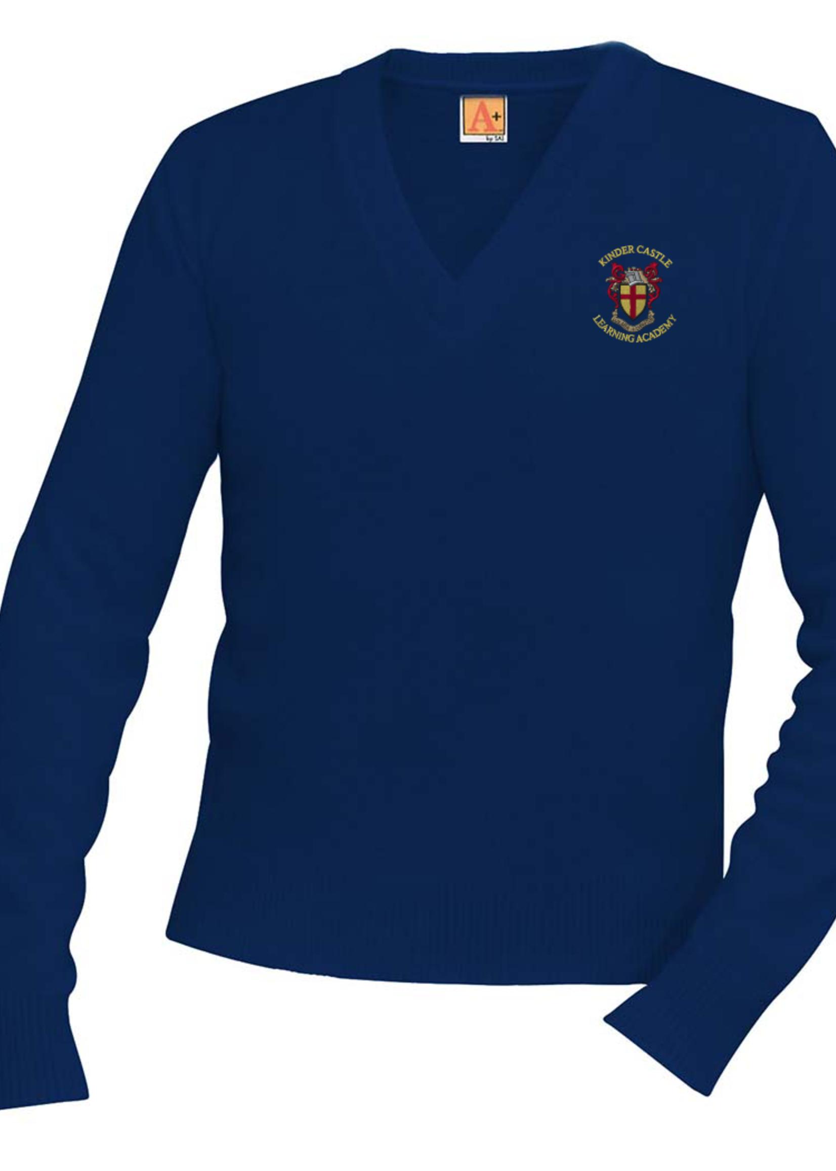 TUS KCLA Navy V-neck Pullover sweater
