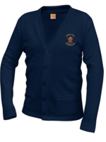 TUS KCLA Navy V-neck cardigan sweater with pockets