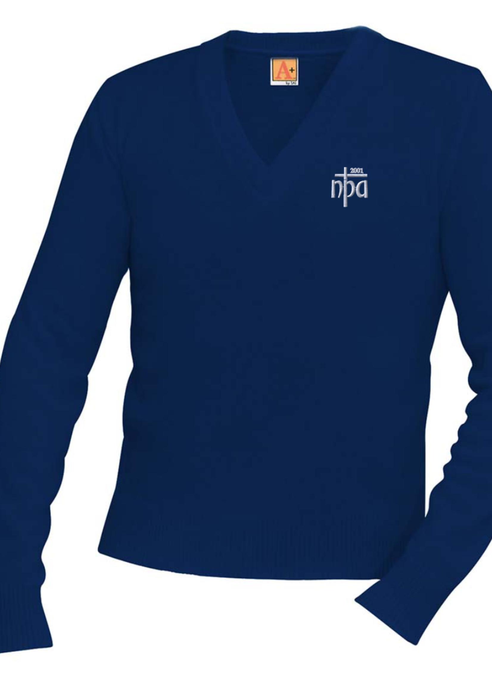 TUS NPA Navy V-neck Pullover sweater