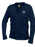 TUS NPA Navy V-neck cardigan sweater with pockets