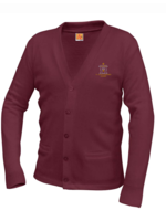 SCBA Wine V-neck cardigan sweater with pockets