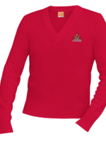 TUS SHPS Red V-neck Pullover sweater