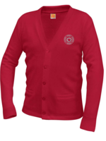 SHS Red V-neck cardigan sweater with pockets