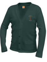 TUS SJC Forest V-neck cardigan sweater with pockets