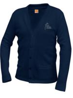 TUS SMA Navy V-neck cardigan sweater with pockets