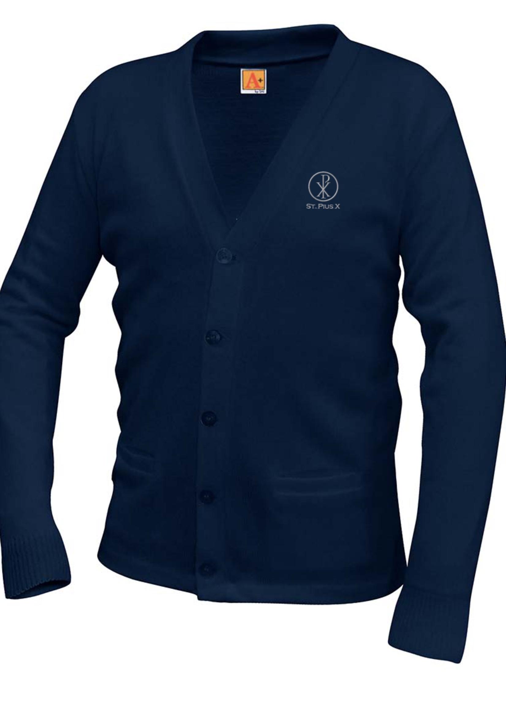 TUS SPX Navy V-neck cardigan sweater with pockets