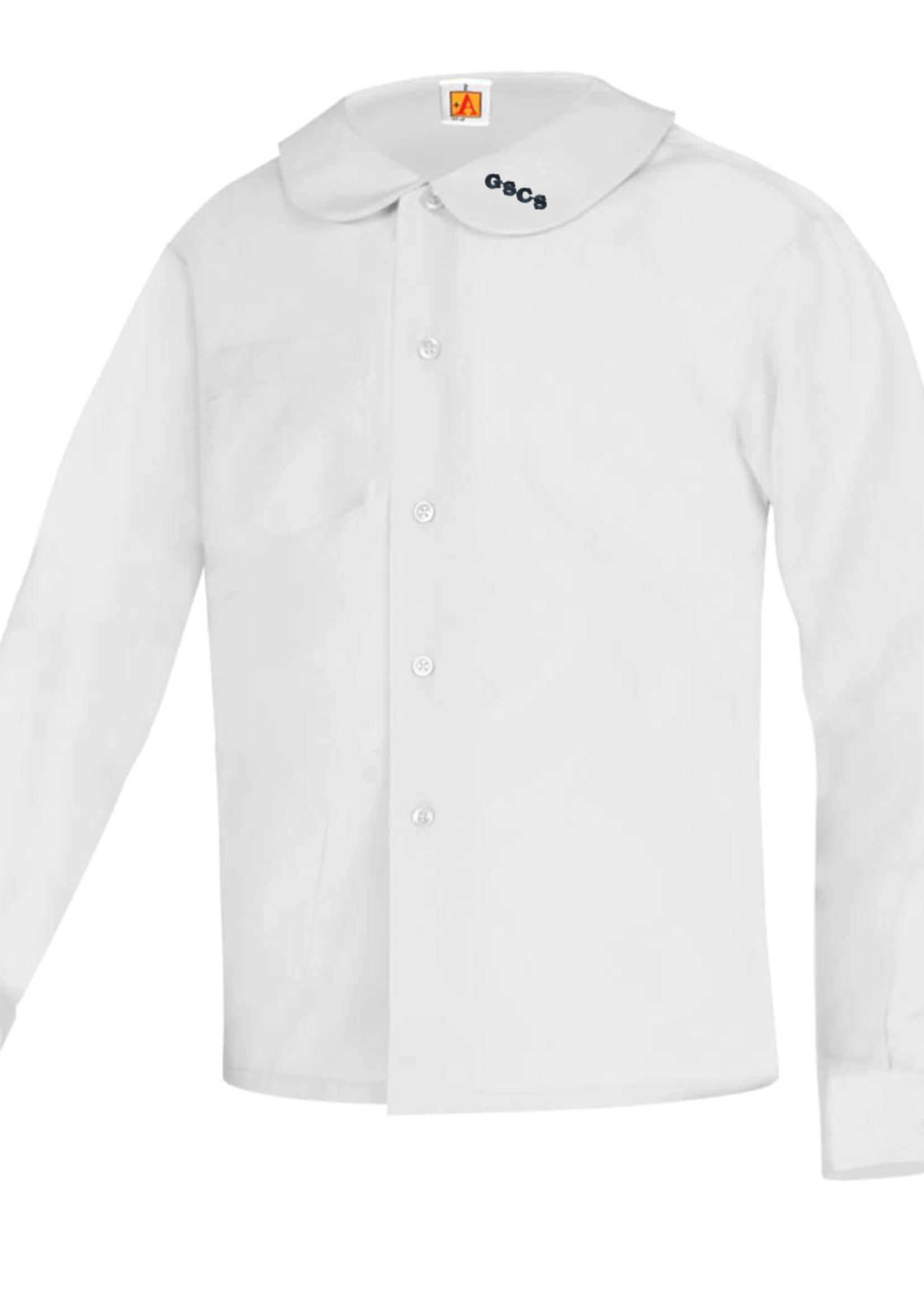 TUS GSCS White Long Sleeve Peter Pan Blouse w/o Pocket