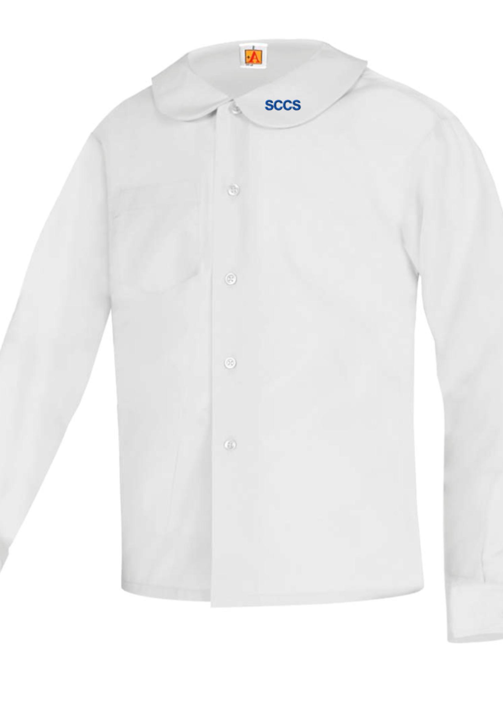 TUS SCCS White Long Sleeve Peter Pan Blouse w/o Pocket