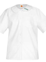 TUS CTCS White Short Sleeve Peter Pan Blouse w/o Pocket