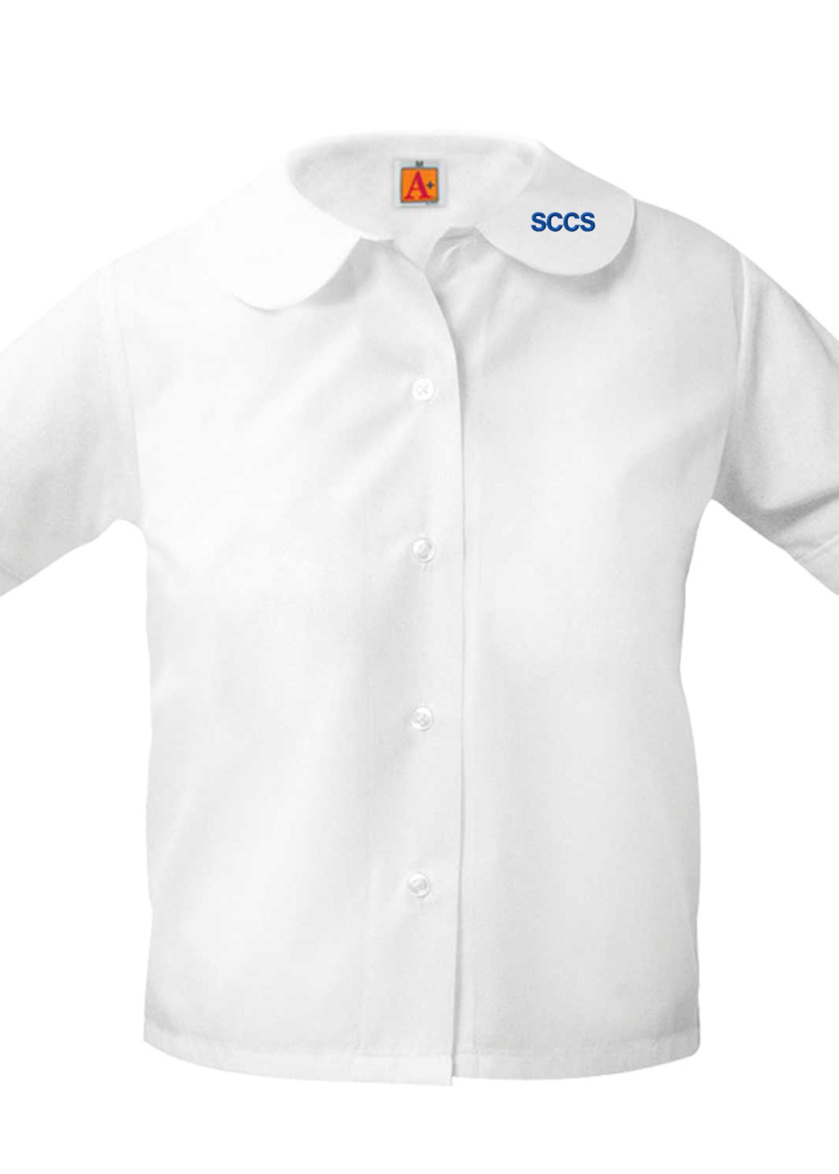 TUS SCCS White Short Sleeve Peter Pan Blouse w/o pocket