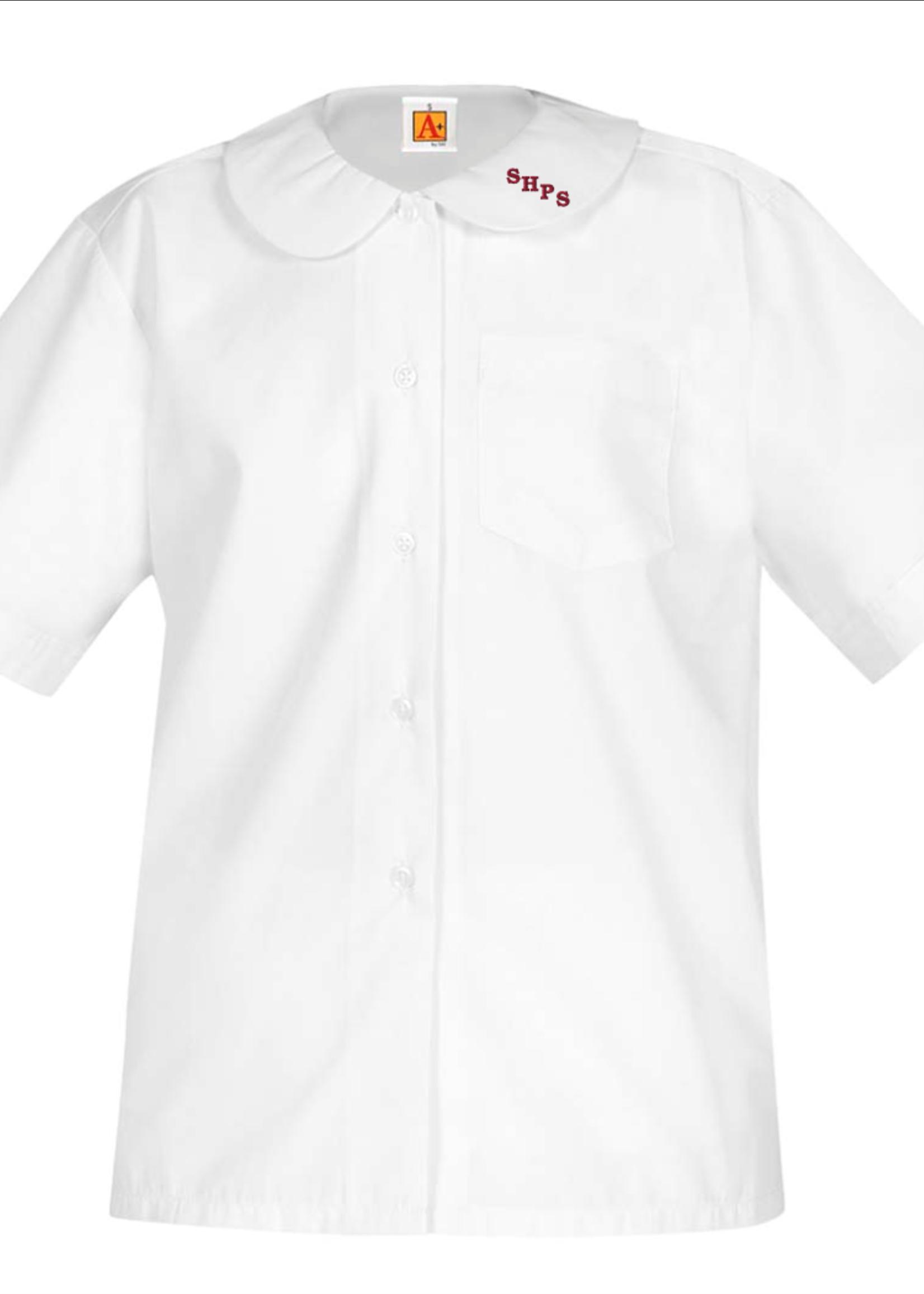 Null SHPS White Short Sleeve Peter Pan Blouse w/o pocket