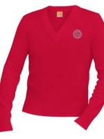 SDPS Red V-neck Pullover sweater K-6