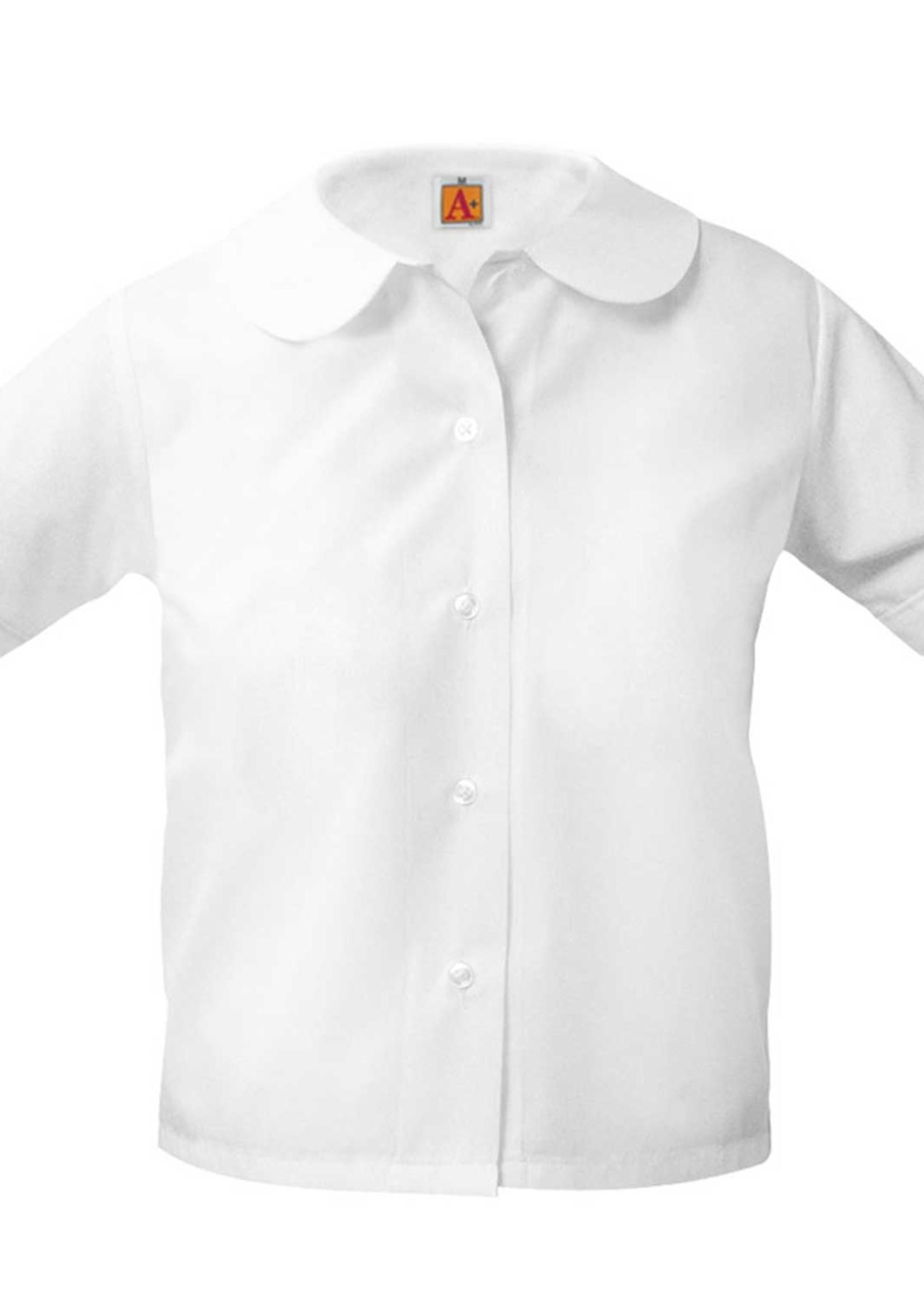 Null White Short Sleeve Peter Pan Blouse w/o Pocket