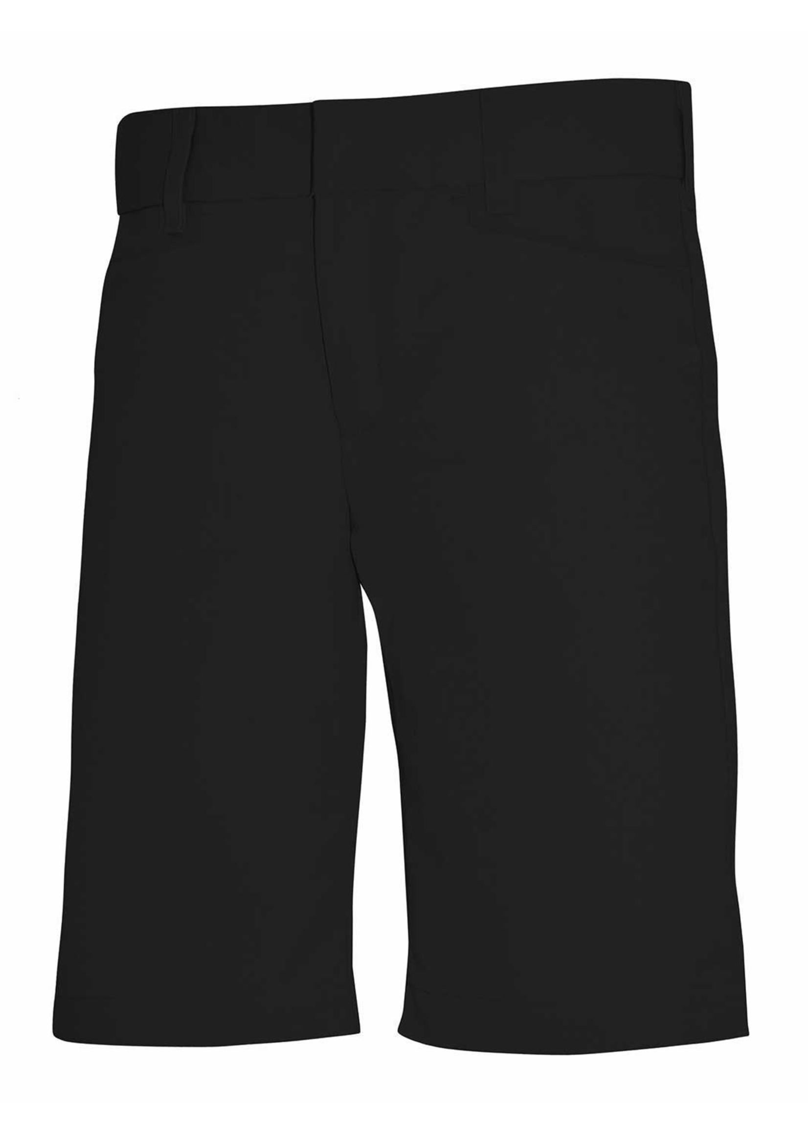 Girls Black Mid Rise Flat Front Shorts