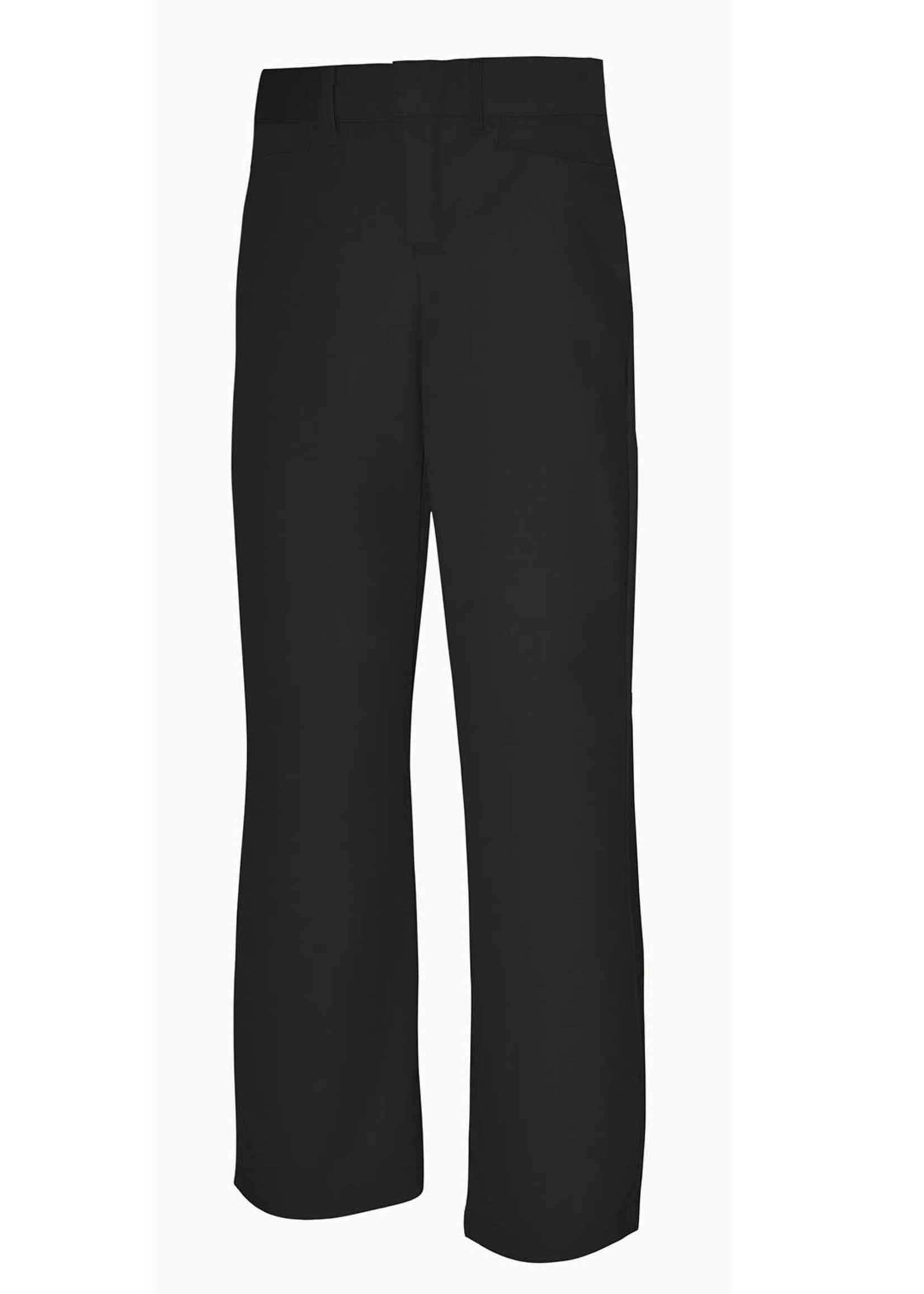 A+ Girls Black Mid Rise Flat Front Pant