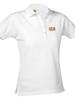 CCA Ladies Short Sleeve White Pique Polo