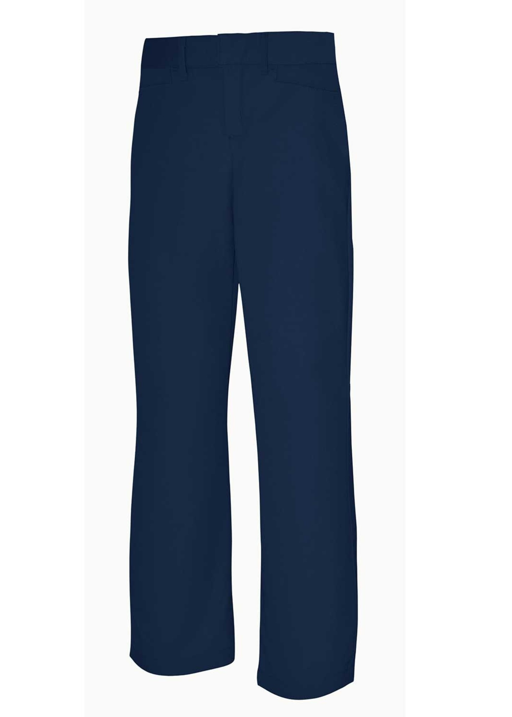 Girls Navy Mid Rise Flat Front Pant with logo