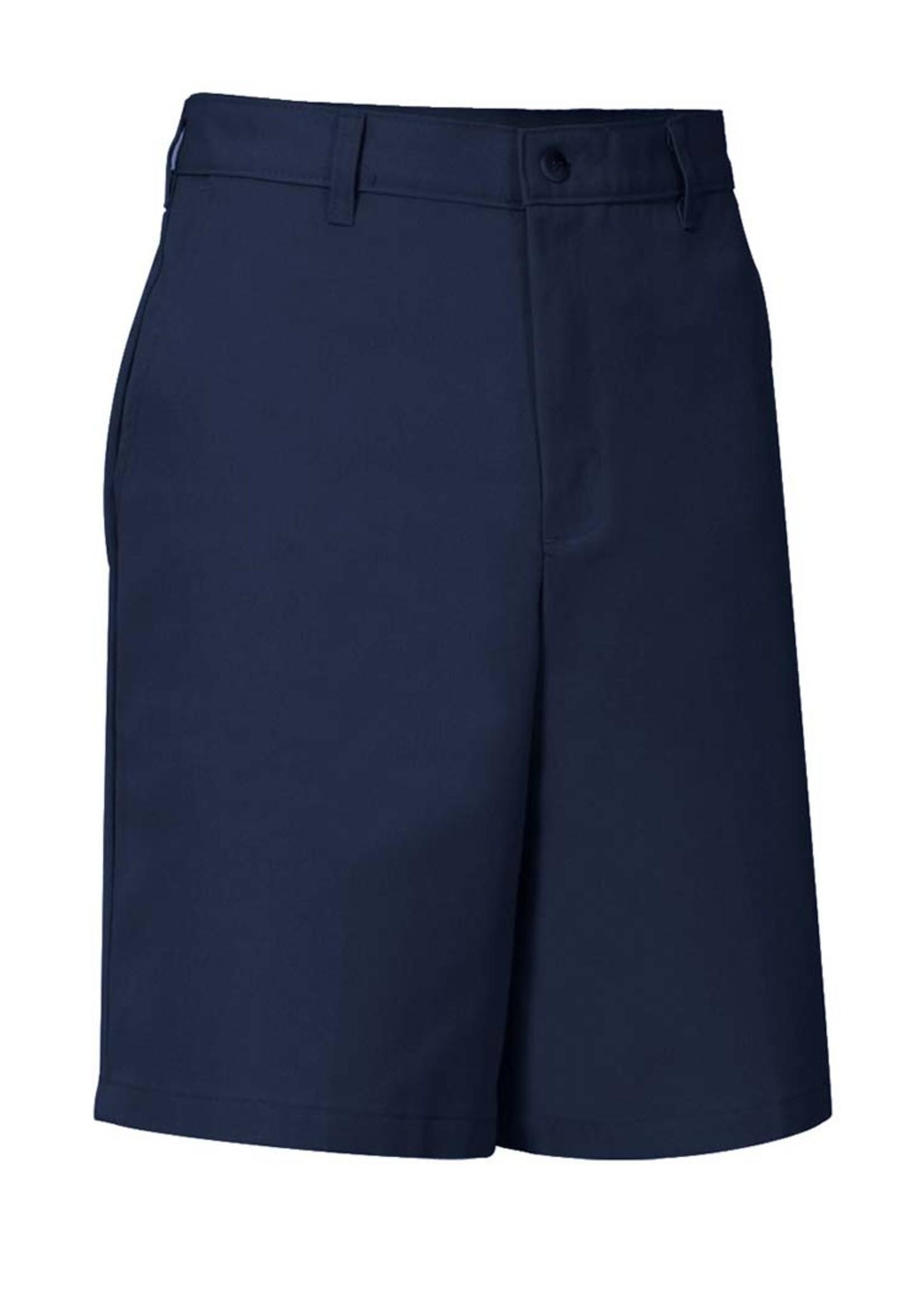 Mens Navy Flat Front Shorts with logo