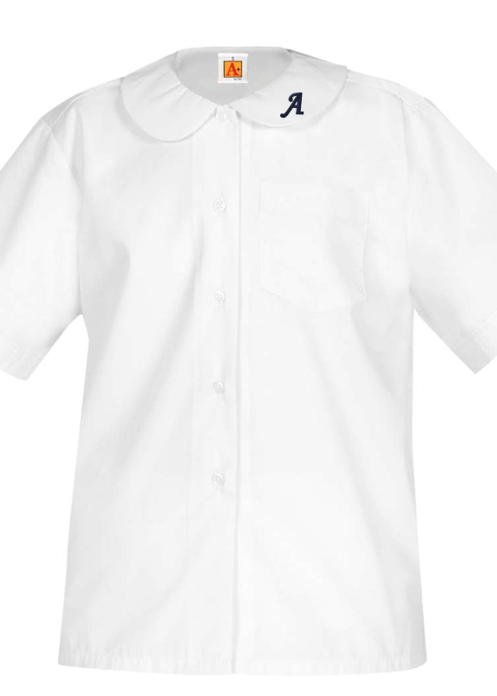 Null OLA White Short Sleeve Peter Pan Blouse w/o Pocket