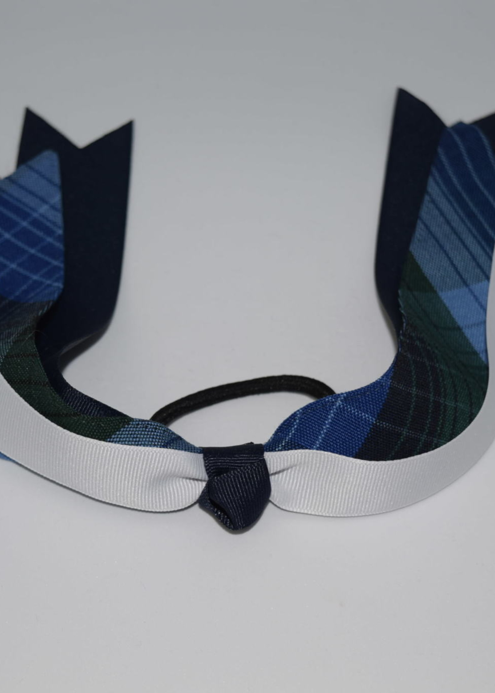 EDT Wide Plaid & Grosgrain Ribbon Streamer Bow P46 NVY WHT