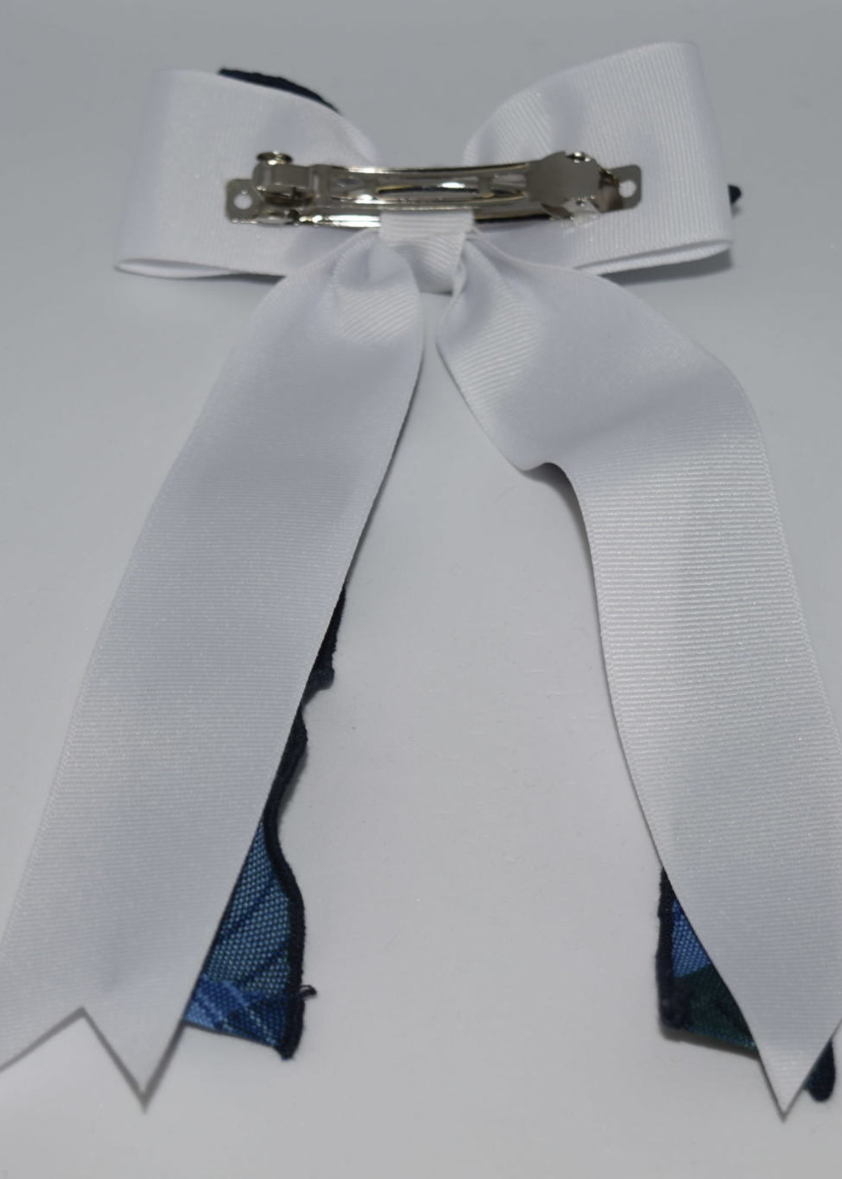 EDT Large 2-layered plaid & grosgrain ribbon bow w/tails P46 WHT