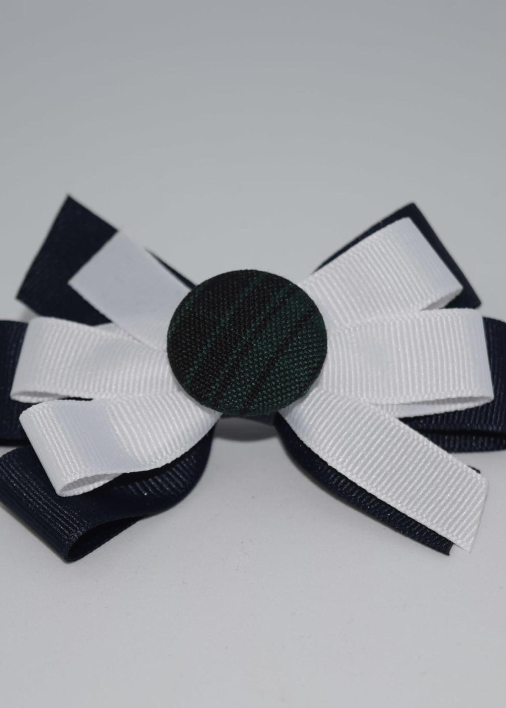 EDT Two Color Bow w/ Plaid Button - P46