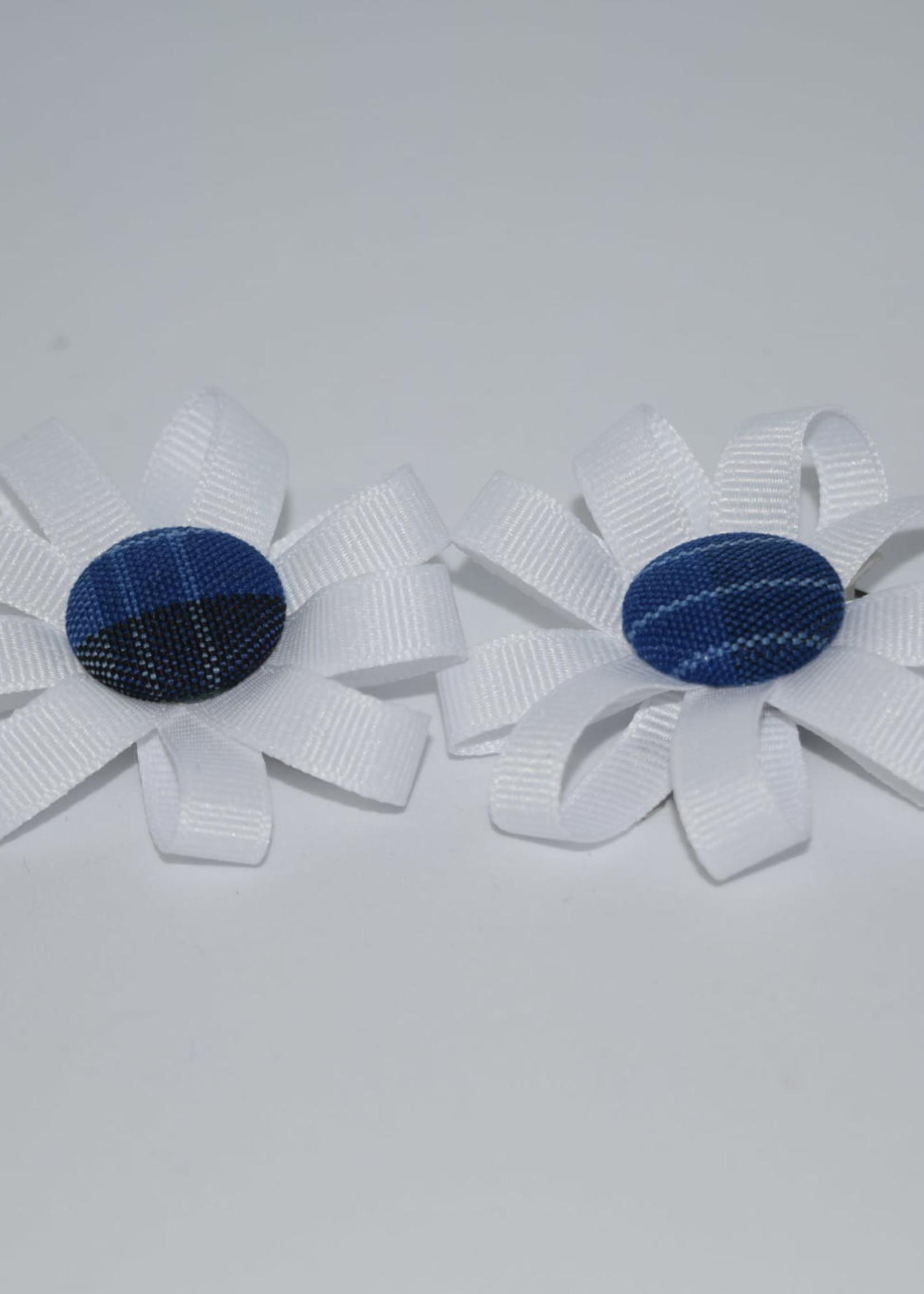 EDT Round Pigtail Ribbon Botton Bows w/plaid center P46 WHT