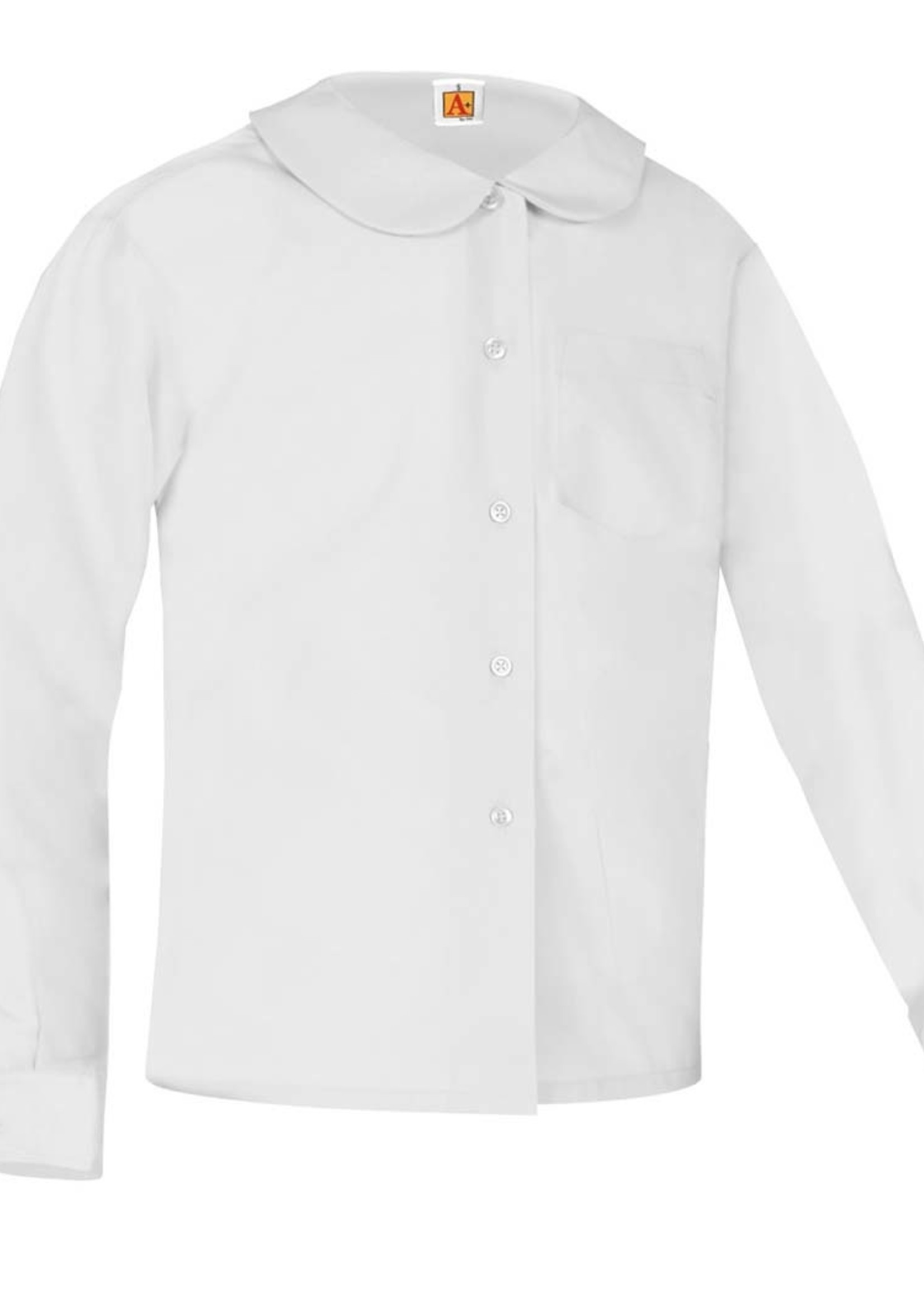 A+ White Long Sleeve Peter Pan Blouse w/o Pocket