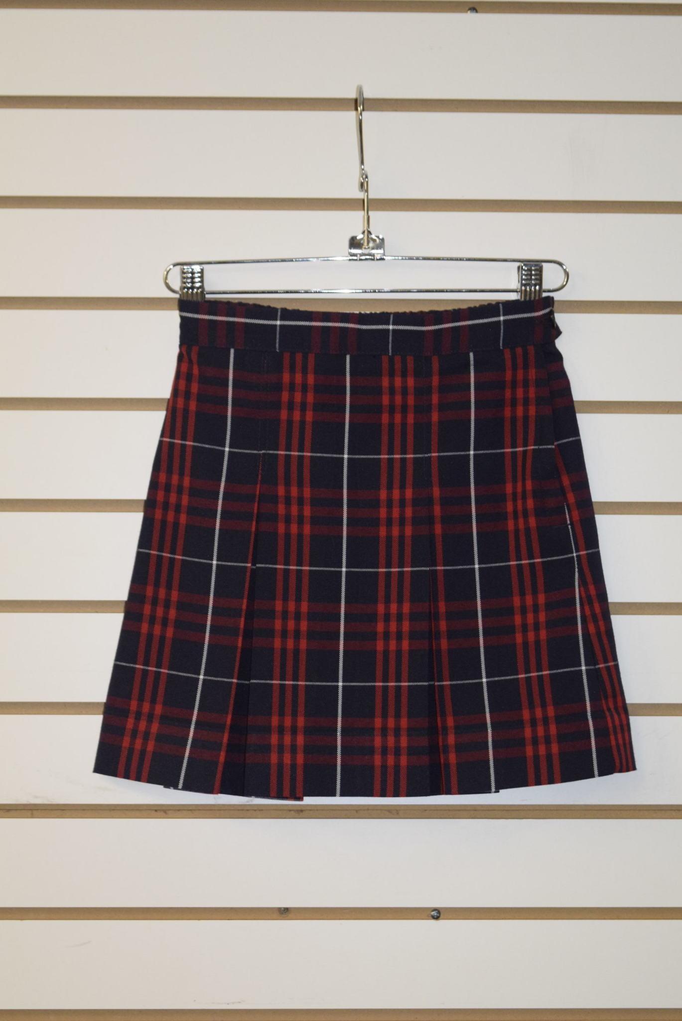 Parker Uniform Skirt 4 Sizes Khaki Tan Multi Box Pleats Polyester Blend NEW