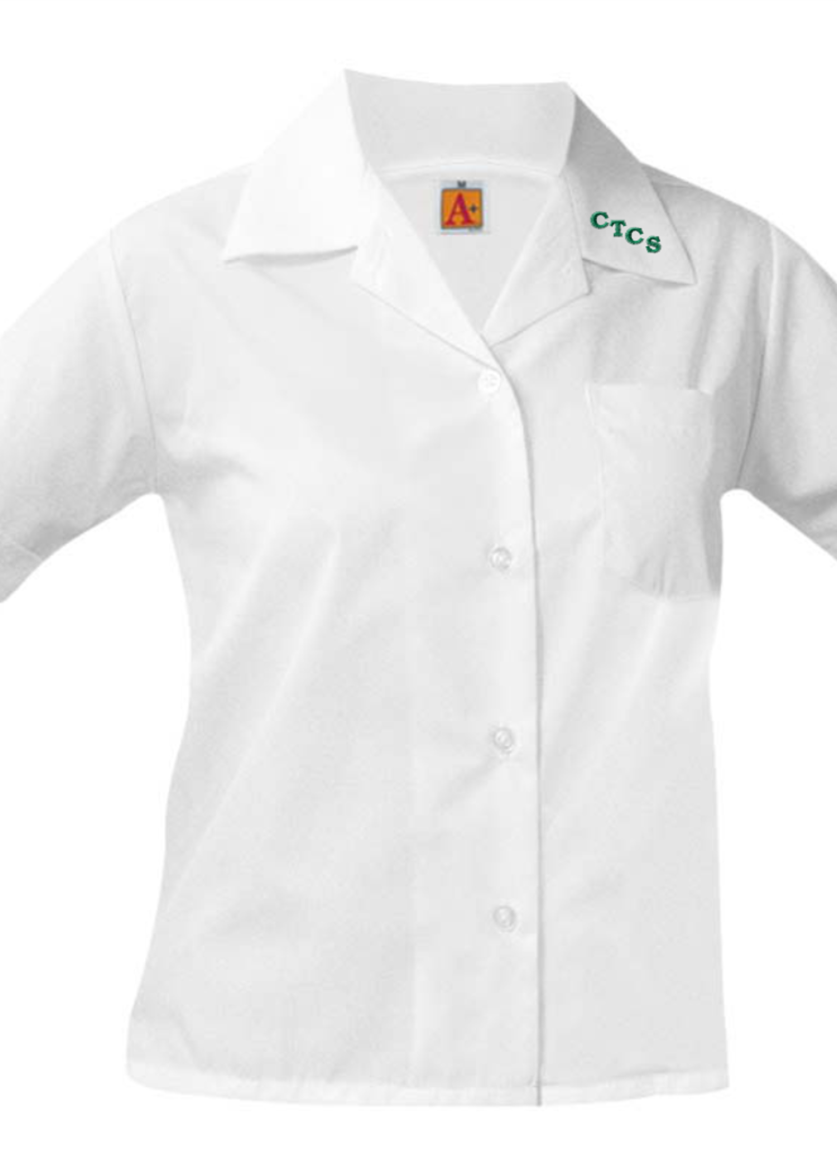 TUS CTCS White Short Sleeve Pointed Collar Blouse