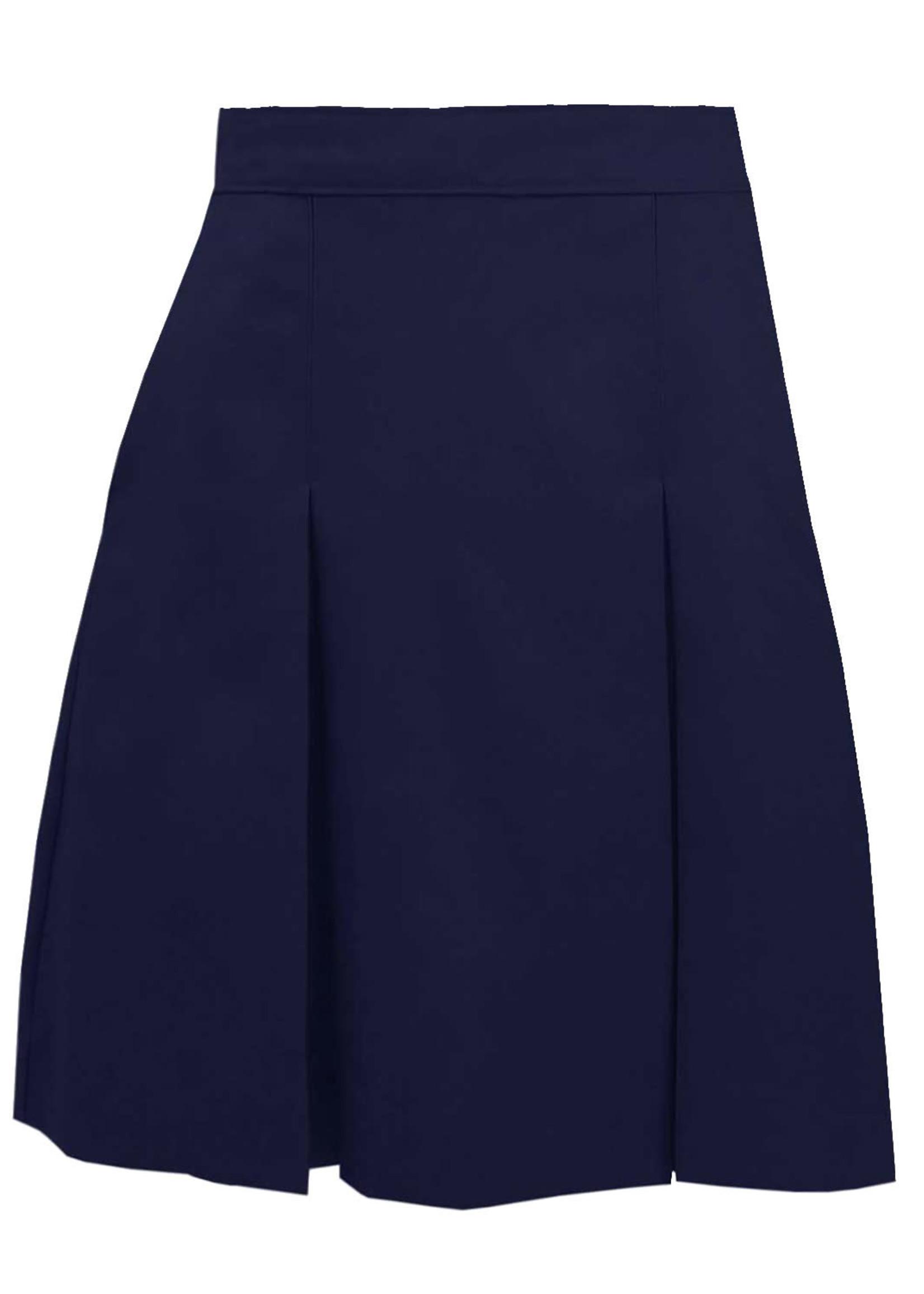 Navy 4 Pleat Solid Skirt
