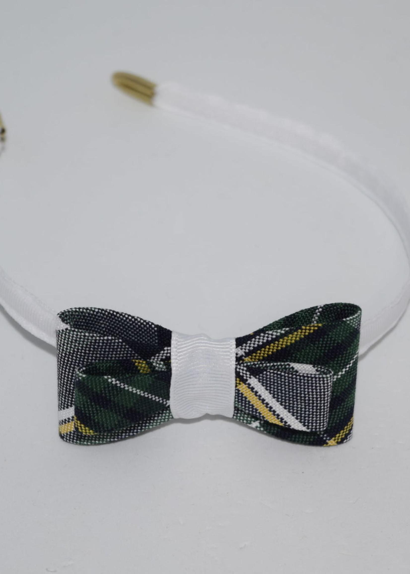 Double Tailored Ponytail Bow on Headband P1B WHT