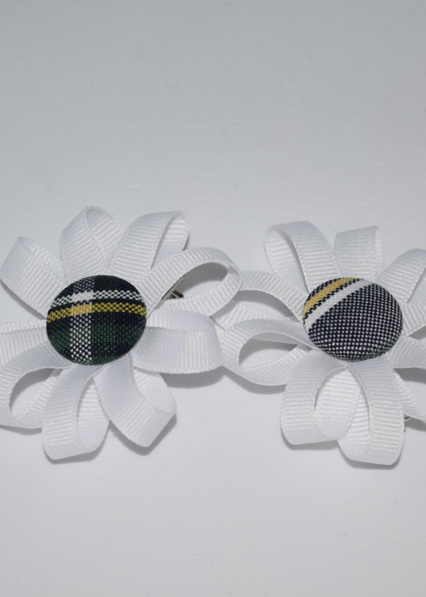 Round Pigtail Ribbon Botton Bows w/plaid center P1B WHT
