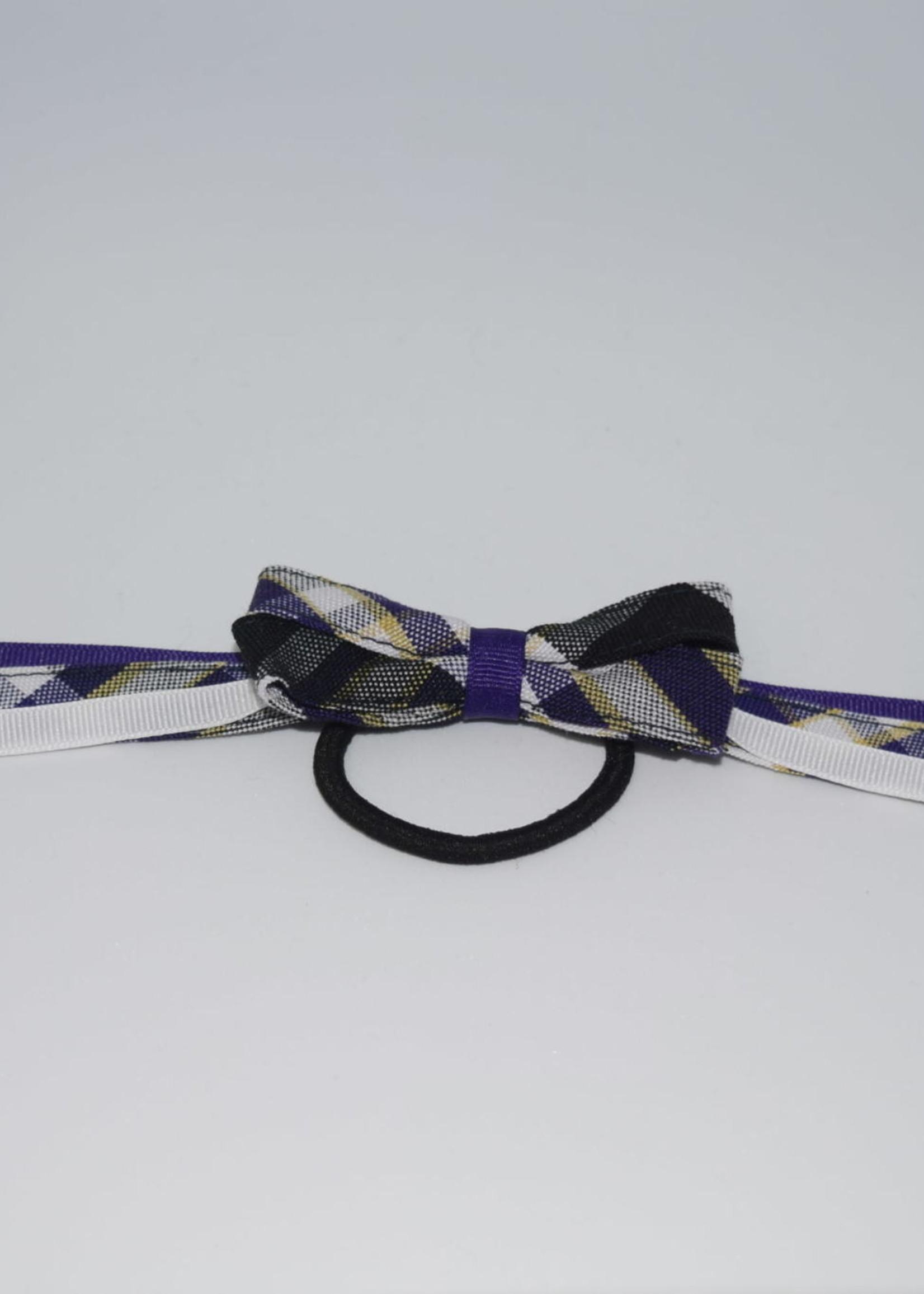 4 looped plaid bow w/plaid & grosgrain tails P2M PUR WHT